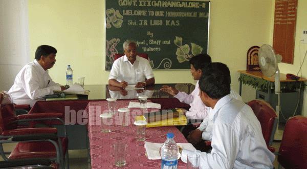 Mangalore MLA J R Lobo Visits Newly-Relocated Government Women's ITI, Kadri Hills