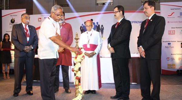 Bangalore Archbishop Moras, T V Mohandas Pai, J R Lobo inaugurate Entreprenet 2014