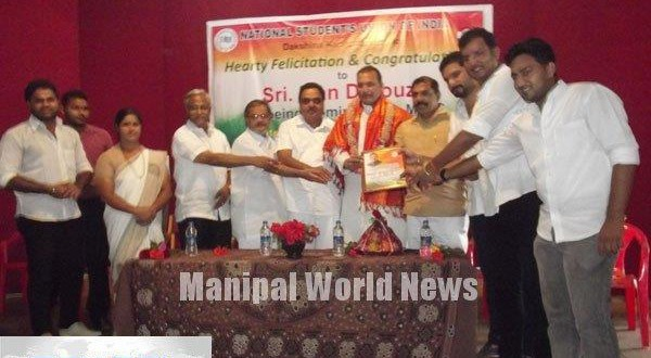 Mangalore D.K. National Students Union of India Unit Felicitates MLC Ivan D'Souza