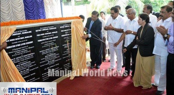 Mangalore High court Judge Bhakthavatsala lays foundation for Judicial Quarters
