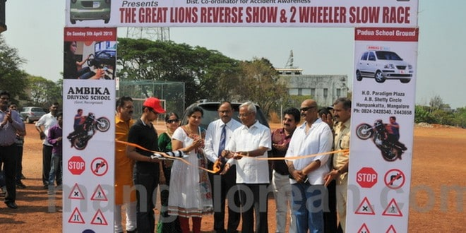 MLA J R Lobo Inaugurates 'Great Lions Reverse Show and Two Wheeler Slow Race'