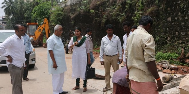 Inspection of concrete work between Shivbagh - Bendorewell stretch