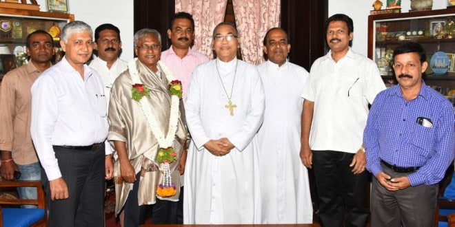 MLA JR Lobo was felicitated by Bishop of Mangalore for being nominated as chairman of legislature's committee