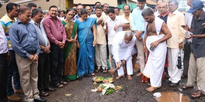 Mangaluru: MLA J R Lobo lays foundation for concreting road in Bolar @ Rs 38 lac