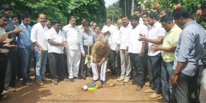 Guddali puje for concrete road in Kapikad fourth cross