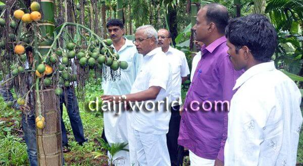 MLA J R Lobo conducts study of crops with farmers in Vittal