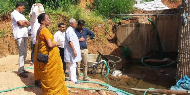 Mangaluru: MLA J R Lobo inspects flooding at Bajal underpass
