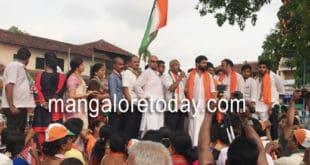Mangaluru South Congress candidate J R Lobo takes out huge Padayatra in Carstreet